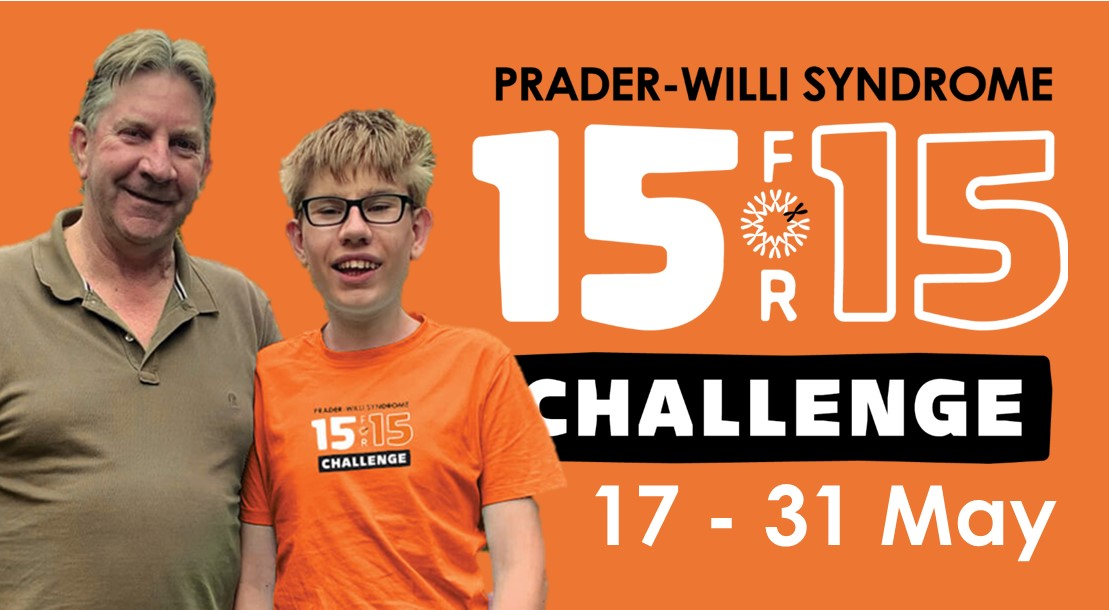 An orange graphic for the 15 for 15 challenge, a campaign to help raise money for a state-wide evidence-based model of care for Prader-Willi Syndrome.