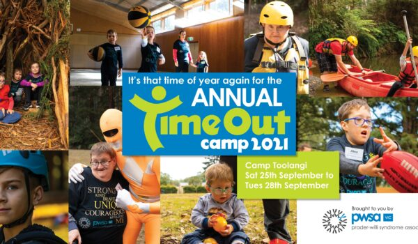A collage of photos taken of participants at the previous PWSA Vic Time Out Camp, with Time Out Camp 2021 logo in the centre.